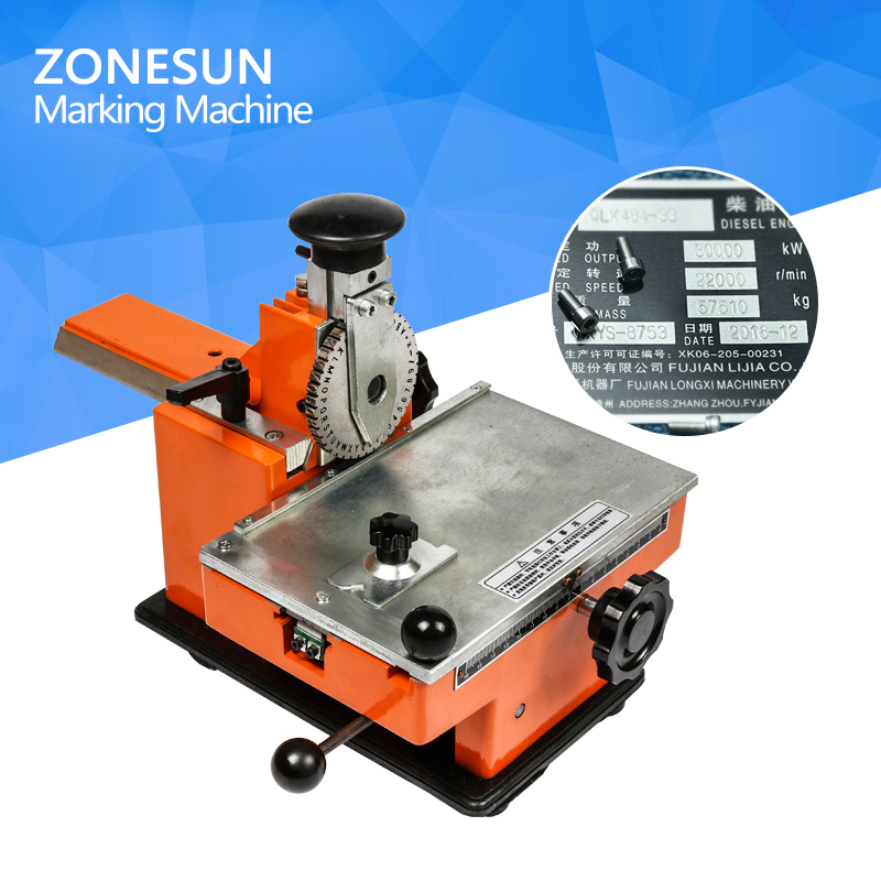 ZONESUN semi-automatic metal nameplate marking machine , label engrave tool,emboss variable parameters,1 gear automatic metal nameplate marking machine