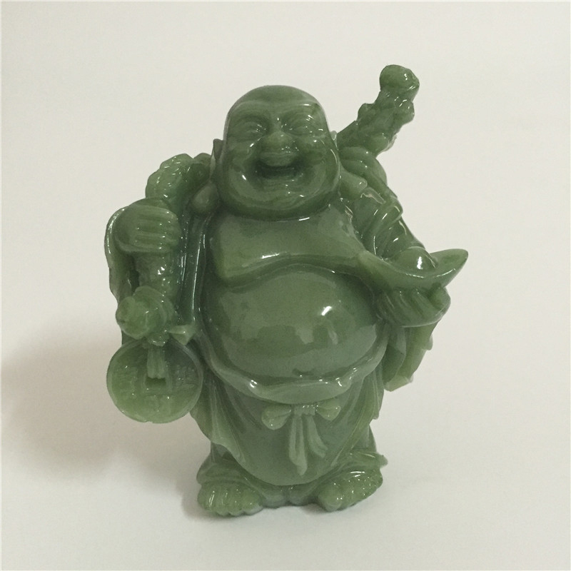 Lucky Laughing Buddha Statue Sculpture Man-made Jade Stone Home Decoration Feng Shui Money Maitreya Buddha Statues Figurines