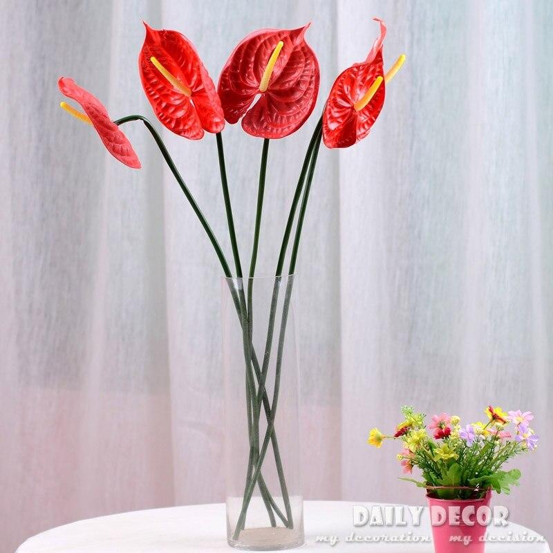 5ks 72cm 28 '' Anthurium Green Anthurium Květiny Vnitřní zelené rostliny Balkon Kancelářské plochy Umělé květiny Home Decor