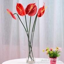 5pcs 72cm 28 Anthurium Green Flowers Indoor Plants Balcony Office Desktop Artificial Home Decor