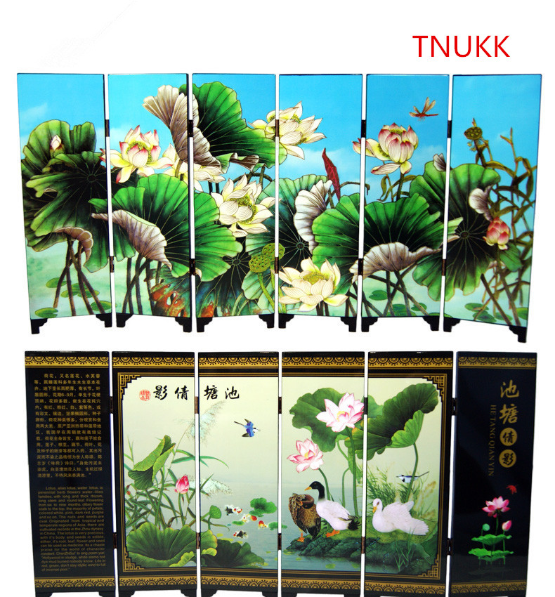 TNUKK MINI Folding Screens 6 Joined Panels Decorative Painting Wood Byobu Alias Water Lotus