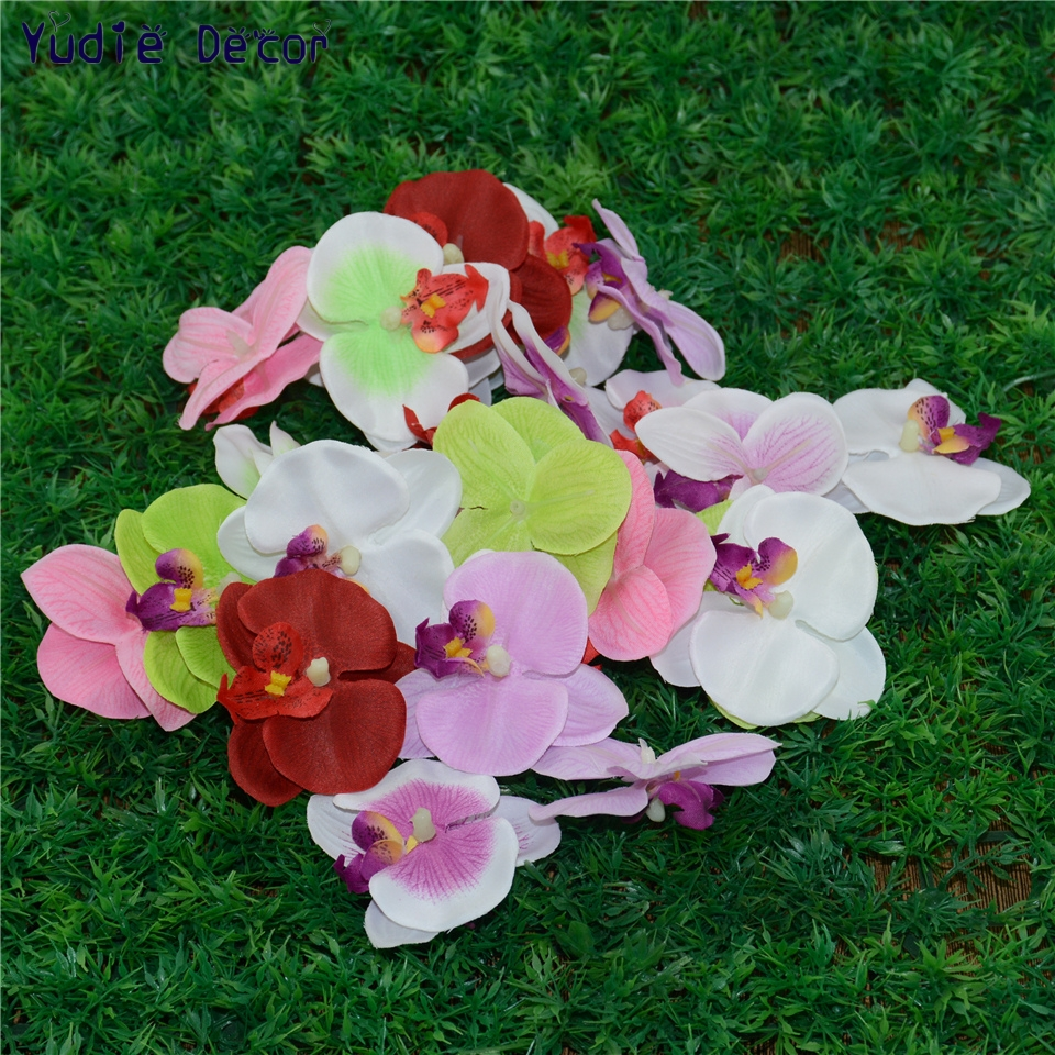 100pcs Wholesale Silk Butterfly Orchid Artificial Flowers Head For