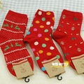 free shipping New Year natal opener  cute red socks New Year festive red socks cotton socks female models Sock Slippers