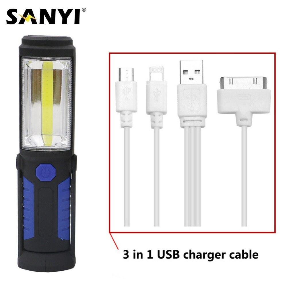 Lampe de travail COB LED 2 en 1 rechargeable lampe de travail COB avec support magn/étique lampe de travail LED portable avec batterie USB