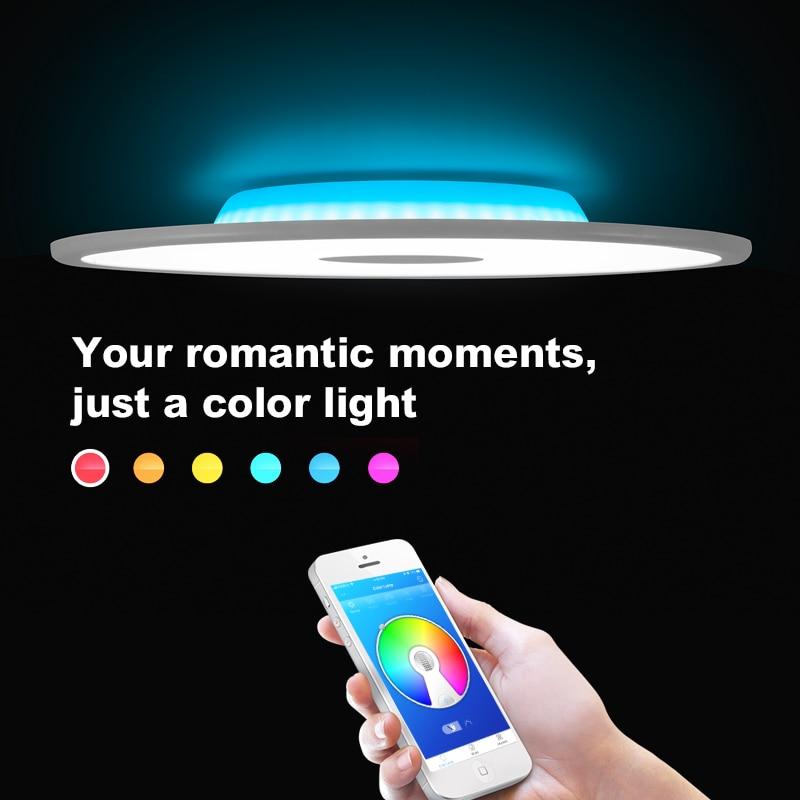 Modern Luz de Teto LEVOU Bluetooth Speaker 36 W 90-265 V Pode Ser Escurecido RGB Controle APP Inteligente do Quarto Sala de estar luz de teto