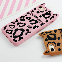 3D Silicon Fitted Case For iPhone X/ 8/7 /6(s) Plus – Leopard Cat