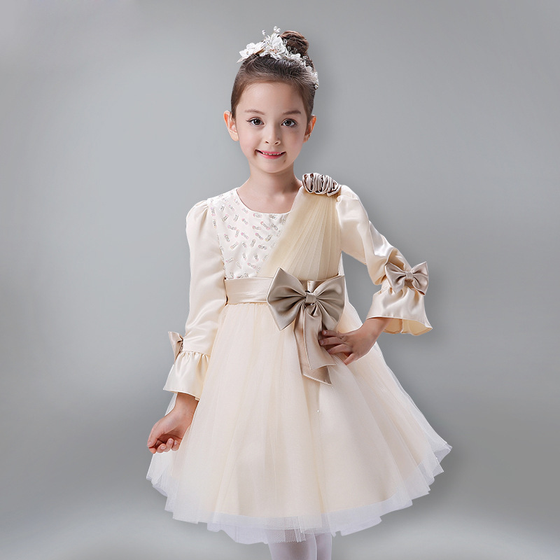 ФОТО Autumn Winter Flare Sleeve Toddler Princess Girls Cotton Big Bowknot Decor Ball Gown Lace Mesh Christening Formal Wedding Dress