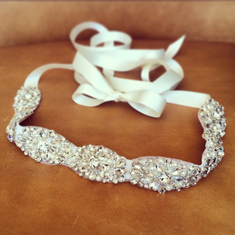 Women Crystal Rhinestone Wedding Sash Belt Wuth Satin