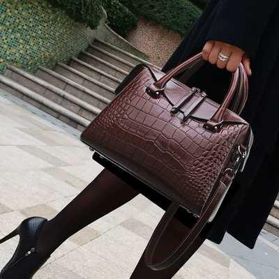 4a904c221ccc New woman leather handbag fashion split leather crocodile pattern ...