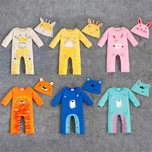 Baby Animal Suit Spring Long Sleeve Romper+Hat 2pcs Infant Baby Girl Boy Clothing Set Cotton One-pieces Fashion Roupas Infantil(China)