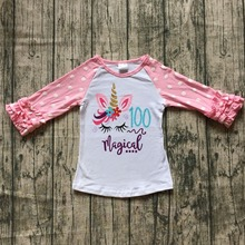 exclusive baby girls three quarter icing raglans boutique 100 days magical unicorn pink top shirts clothes back to school cotton