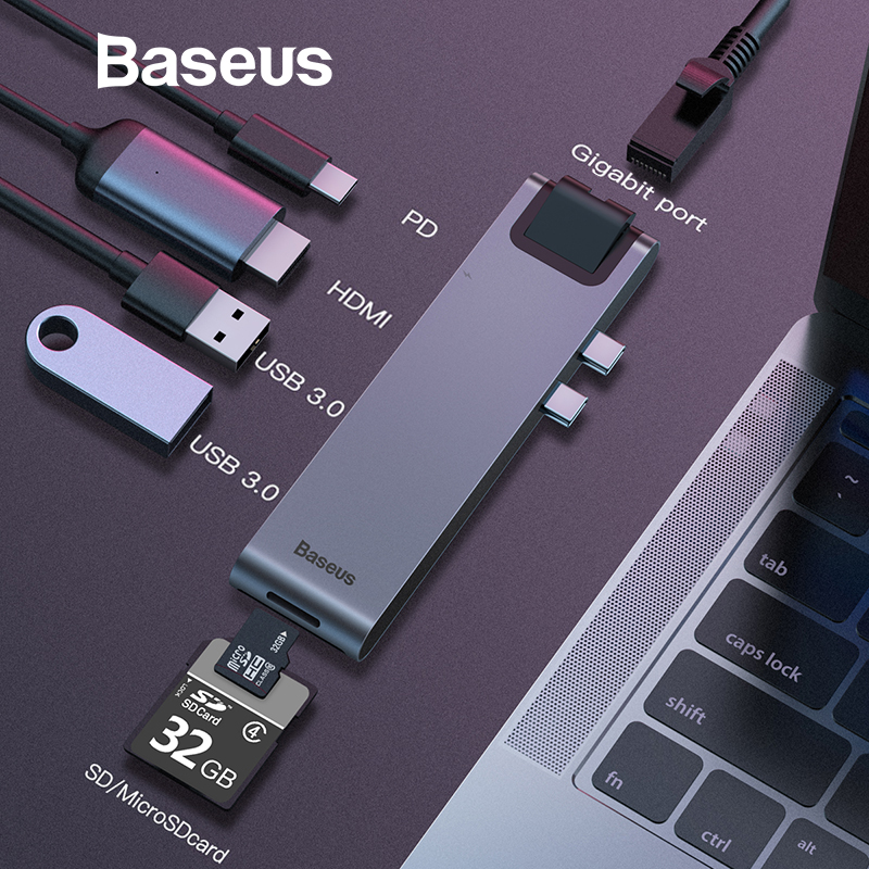 Baseus Dual Type C 7in1 USB 3.0 Type C HUB HDMI RJ45