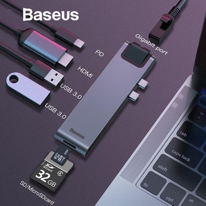 Baseus Dual tipo-C 7in1 USB 3,0 tipo C HUB HDMI RJ45 adaptador para MacBook Pro OTG HUB USB splitter 3,0 PC del accesorio de computadora