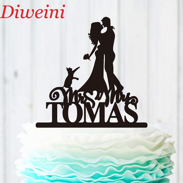 Personalised Bride And Groom Cake Topper Mr And Mrs Last Name Cake