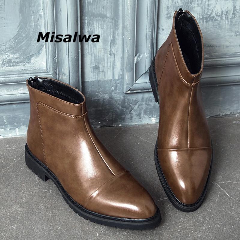 Misalwa Mens Brown Leather Zip Boots Rivet Business Office Formal Short Ankle Korean Stylish Chelsea For Men 2019