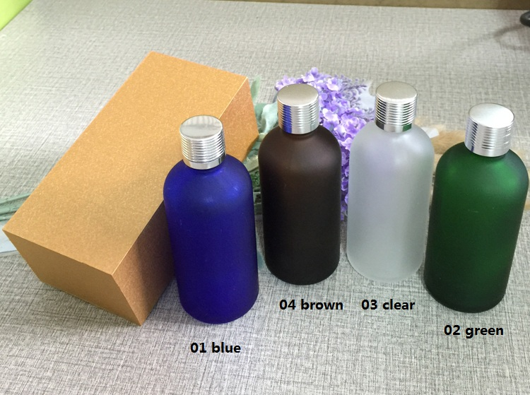 4pcs 100ml High-grade frosted essential oil bottle with wooden box packing silver cap glass bottle,lotion cosmetics powder jar frontier cinnamon powder korintje a grade 3% oil 16 ounce bags
