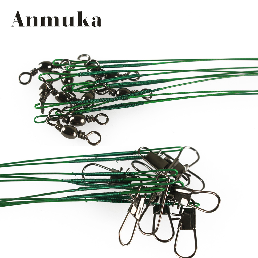 18Pcs Fly Fishing lead Line Leader Wire leading line Assortment Sleeve and Swivel Stainless Steel Rolling Swivels 12/22/28cm