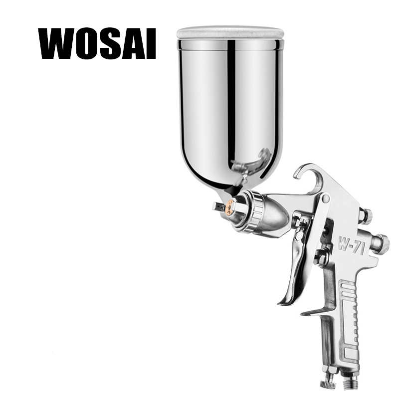WOSAI 400ML Profession Pneumatic Spray Gun Airbrush Sprayer Alloy Painting Atomizer Tool With Hopper For Painting Cars W71 стоимость