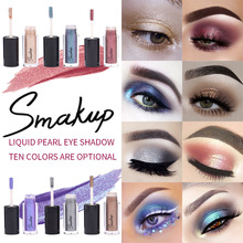 SMAKUP 10 Colors Holographic Liquid Pearl  Eyeshadow Mixed Color Eye Shadow Powder Shimmer Makeup Cosmetics