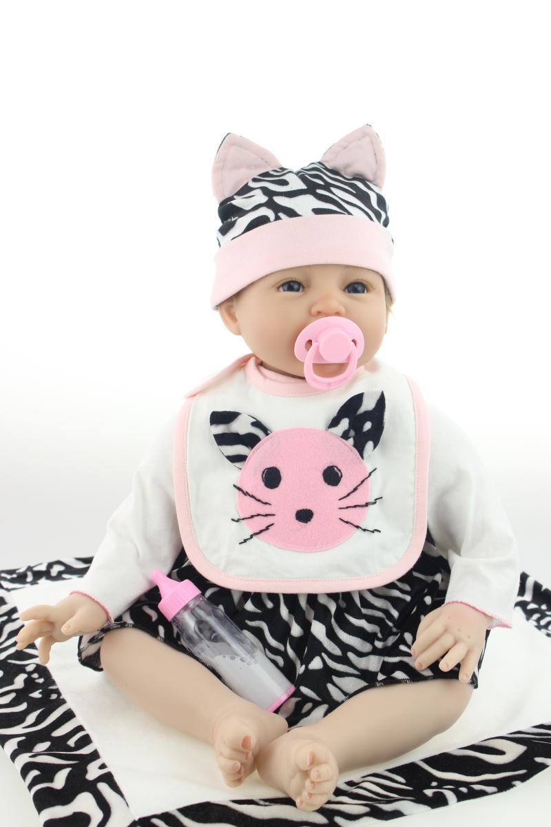 NPKCOLLECTION 22 pouces/55 cm mode doux Reborn poupées réaliste Silicone bébé poupée à la main nouveau-né fille jouet Simulation bébé vivant