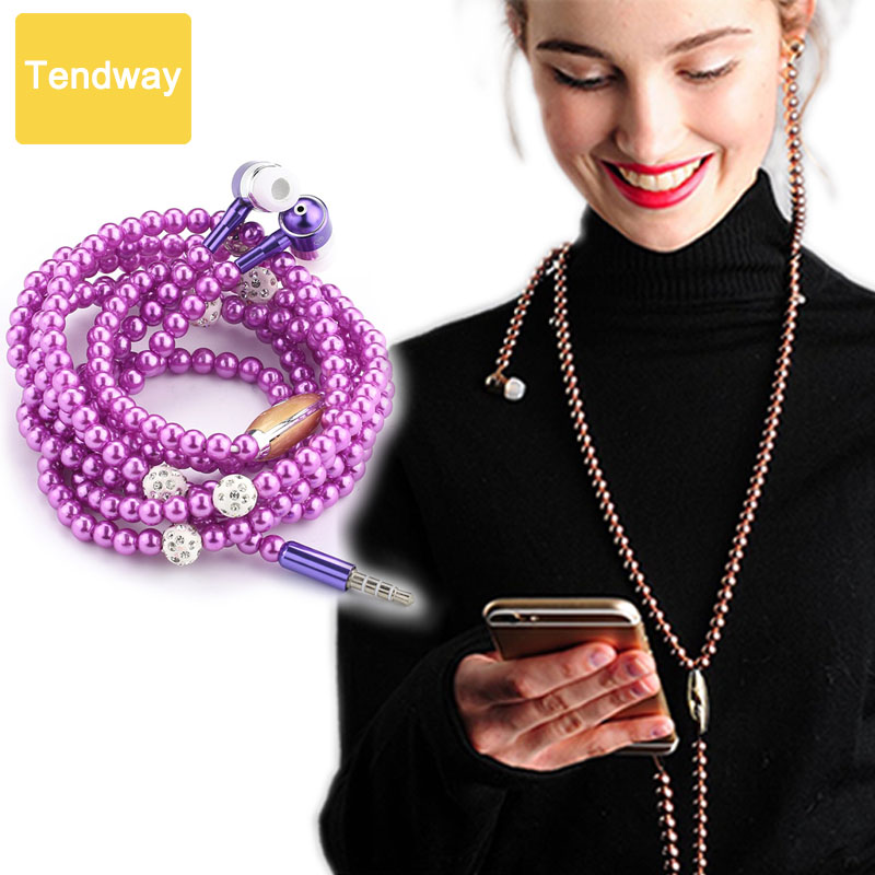 Jewelry Pearl Necklace Earphones With Mic Beads 3 5mm headset For iphone 6 6S 5 SE