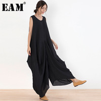 EAM 2018 New Summer Round Neck Sleeveless Black Pocket Split Joint Loose Wide Leg Long