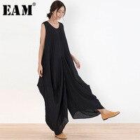 EAM 2018 New Summer Round Neck Sleeveless Black Pocket Split Joint Loose Wide Leg Long