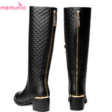 2016 new high quality pu+genuine leather Riding boots women's winter knee high boots fashion snow motorcycle boots