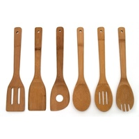 6PCs Bamboo Spoon Spatula Wooden Kitchen Cooking Utensil Set Cooking Tools Ladle Spaghetti Server