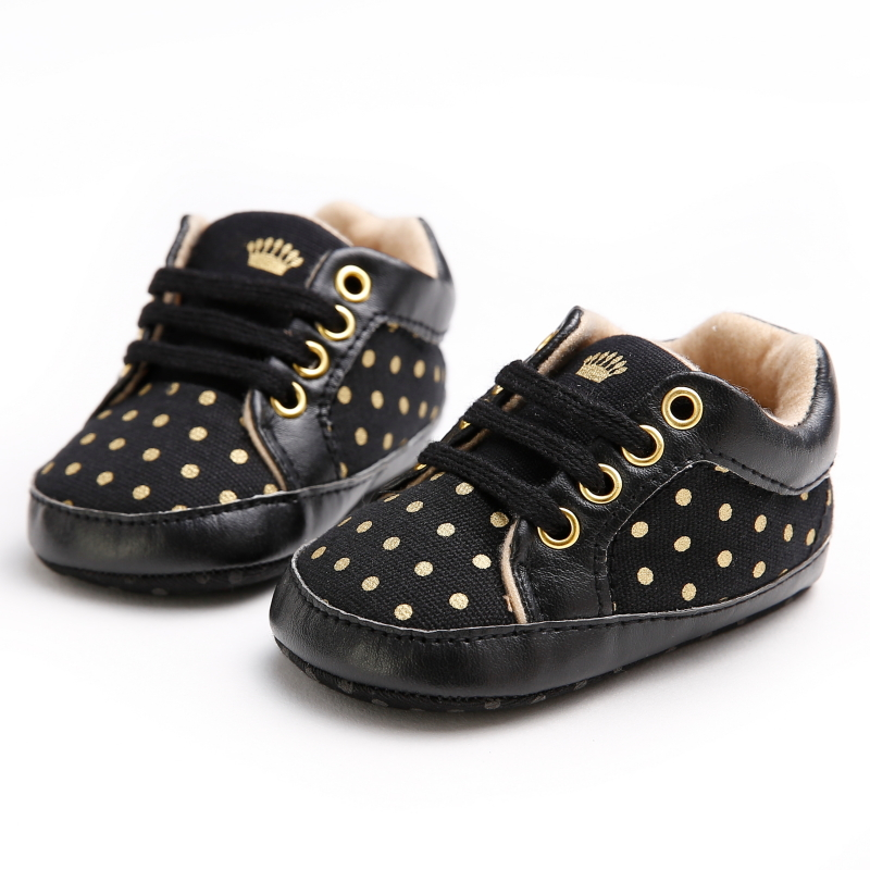 2016 New Fashion Golden Polka Dots Baby Girl Shoes First Walkers Canvas Soft Sole Children Casual Shoes Baby Boys Girls Sneakers