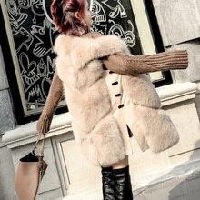 Осенний зимний жилет лиса Меховой жилет ПУ шить из искусственного меха жилет женщин