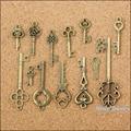 Venta al por mayor 117 unids encantos del Vintage Keys mezclado colgante de bronce antiguo Fit collar de las pulseras DIY joyería del Metal Making 10012