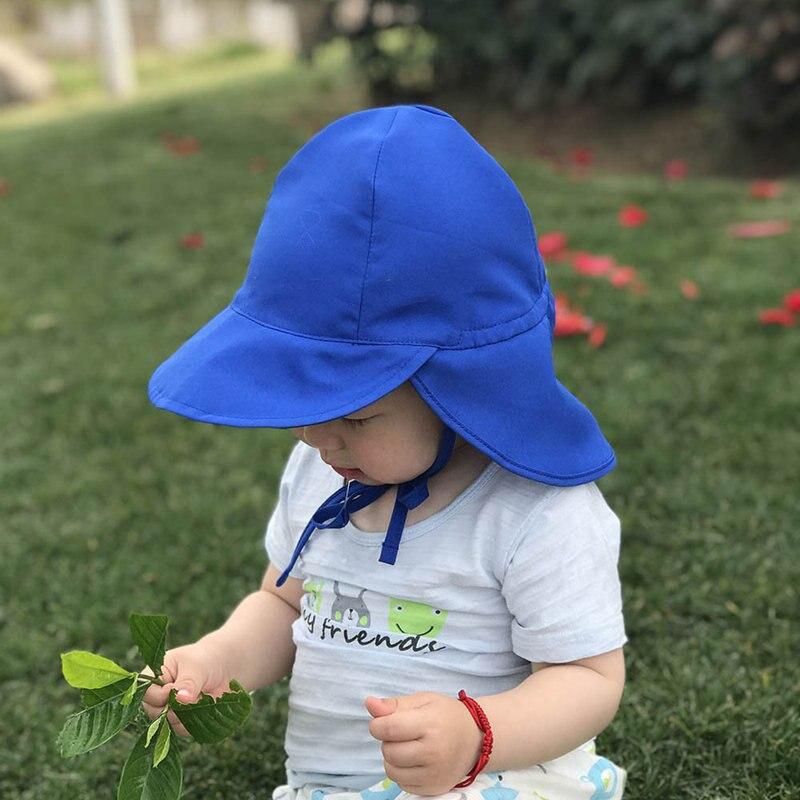 2018 Children Summer Sun Hat Outdoor Beach Hat Neck Ear Straw Hat Unisex Baby Cap UV Protection Lovely Breathable Sun Cap