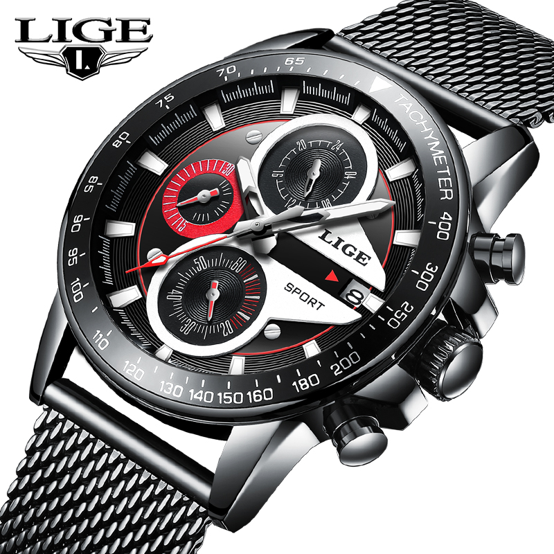 LIGE Top Brand Luxury Mens Watches  Business Stainless Steel  Quartz Clock Watch Waterproof Sport ChronographLIGE Top Brand Luxury Mens Watches  Business Stainless Steel  Quartz Clock Watch Waterproof Sport Chronograph