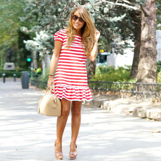 Mom's and Daughter's Striped Dresses