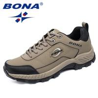BONA nowy typowy Stlye mężczyźni buty górskie Outdoor Jogging trampki trekkingowe zasznurować męskie buty sportowe wygodne darmowa wysyłka w Buty turystyczne od Sport i rozrywka na
