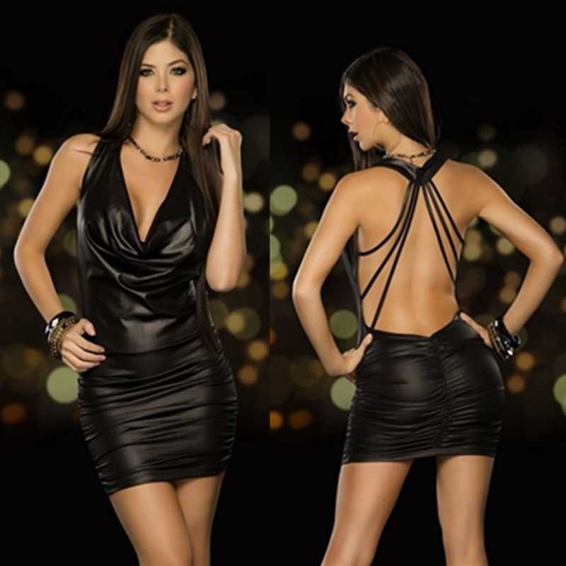 2018 summer Sexy Woman Faux Leather Plunging V Neck Midi Dress Elegant Clubwear Slim Bodycon Package Hip Party Vestidos