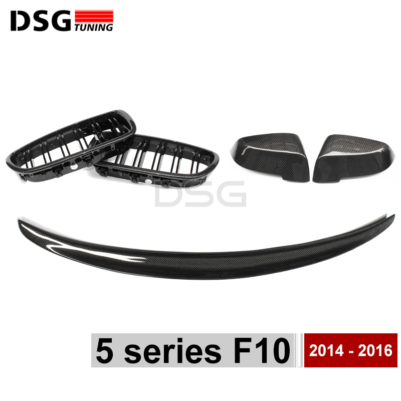 F10 M5 Carbon Fiber Side Door Mirror Cover / Rear Trunk Spoiler Wing / Front Bumper Grille Mesh For BMW F10 F11 5 Series