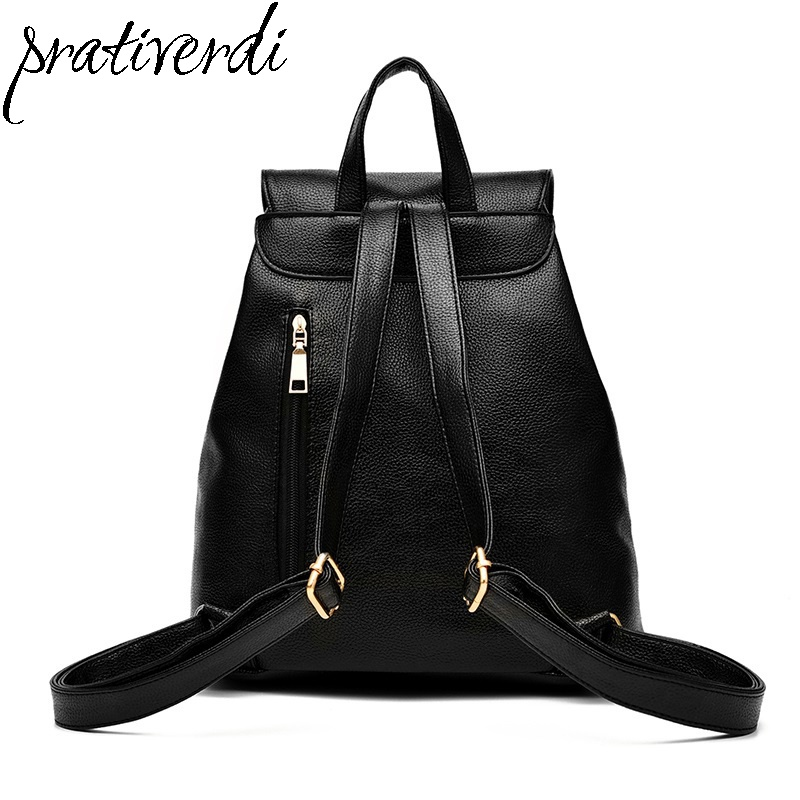 Famous Brands Women Backpack High Quality PU Leather Mochila Escolar School Bags for Teenagers Girls Top