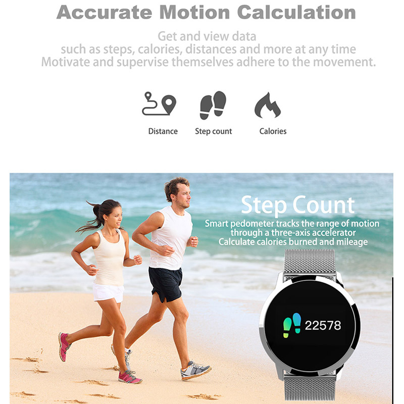 Fitness Smart Watch Men Women OLED Screen Heart Rate Monitor Blood Pressure Touch Pedometer Health Sport Watch For Android IOS 3