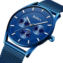 Fashion Blue Watch Men Top Brand Waterproof Slim Mesh Wrist Watches Business Quartz Sports Watches Clock Male Relogio Masculino fashion casual gonewa brand men watches sports silicone strap business simple wrist watch 10 bar waterproof male clock gon047