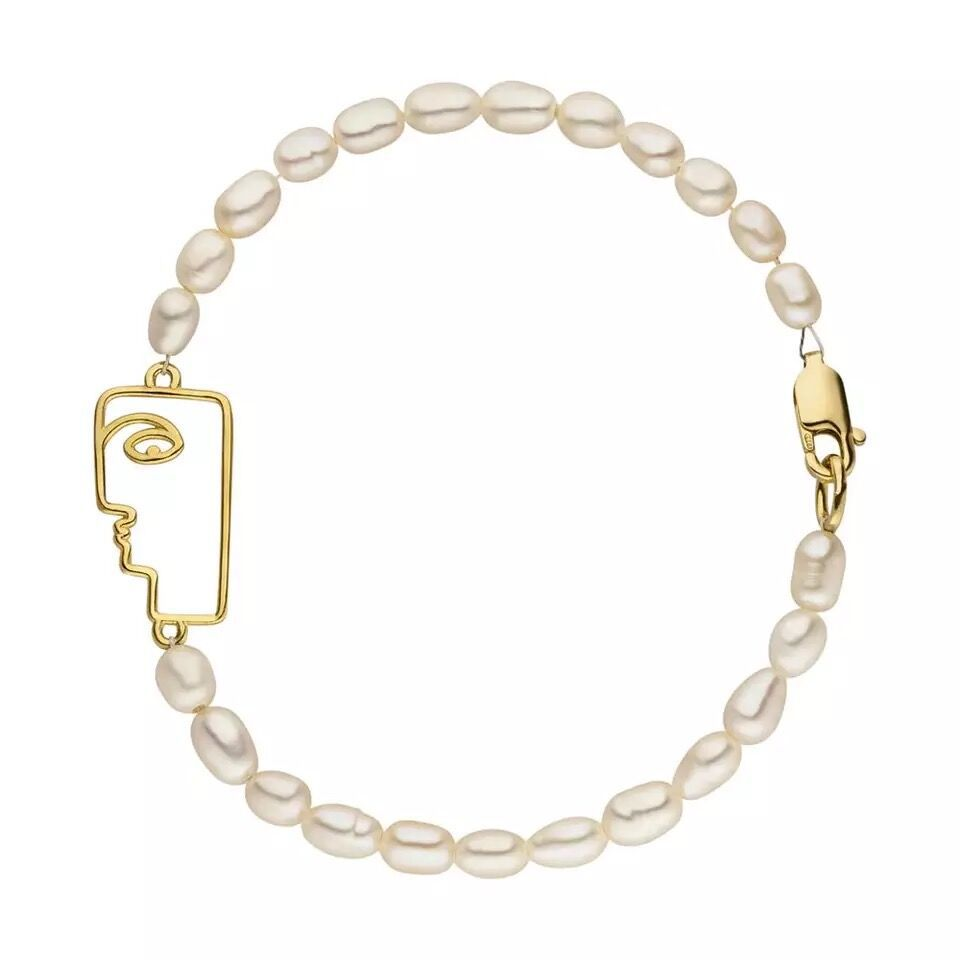 Pearl Bracelet Natural Freshwater Pearl Gold plated Art Face Bracelet ins Abstract Fashion Pearl Handwear Female in Strand Bracelets from Jewelry Accessories
