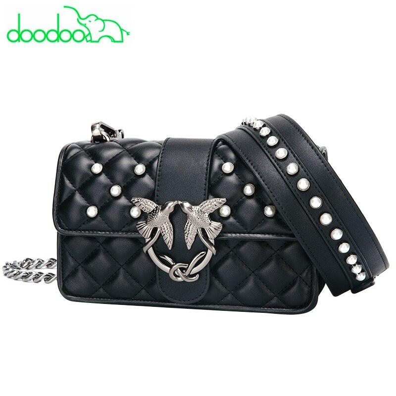Leather Messenger Bag Female Luxury Socialite Daily Bag Chains Crossbody Bag Female Diamond Lattice Women Bag Lady Clutch Purses