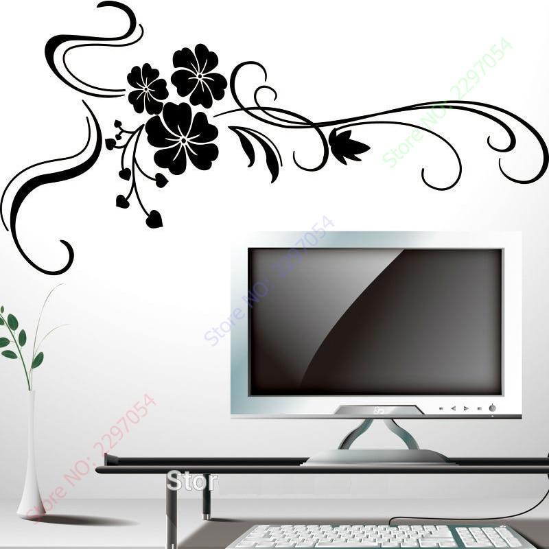 Nya vackra stora blommor väggklistermärken heminredning för tv-rum - Heminredning