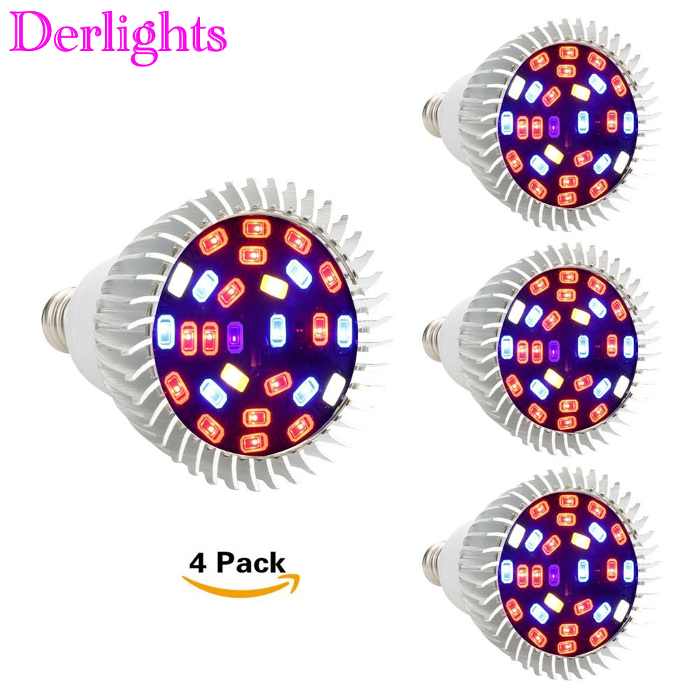 4pcs/Lot 28W Led Grow Light Full Spectrum E27/GU10/E14 Led Plant Lamp AC85-265V Red+Blue+White+UV+IR Indoor Greenhouse Grow Lamp