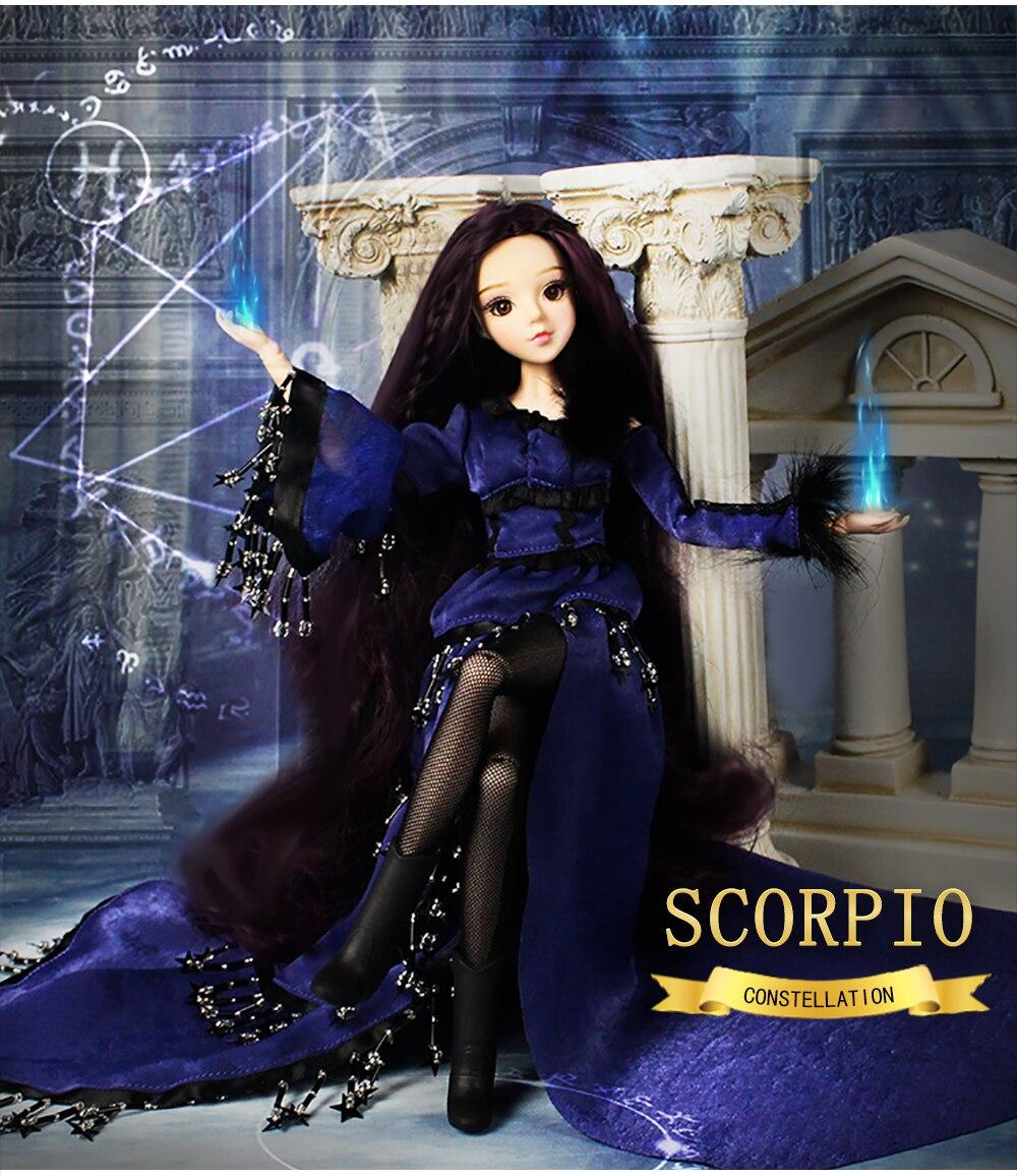 Toys & Hobbies Bjd Doll Joint Body Doll 35cm Fashion Girls Constellation Series Aquarius Blue Hair Doll Model Toys For Kids