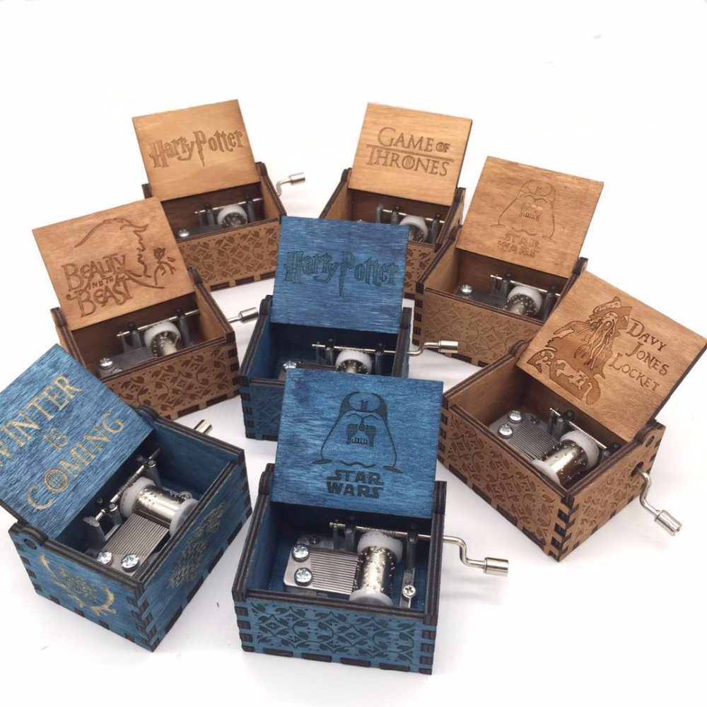 Carved wooden Harry potter Music box Game of Thrones Pirates of the Caribbean John Lennon Star wars Movie theme Musical boxes