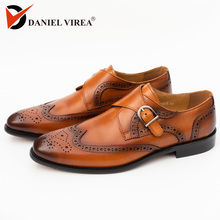 Men Dress Cap Toe Shoe Genuine Leather Brogue Yellow Color Buckle Strap Brand Luxury Fashion Mens Dress Wedding Formal Shoes