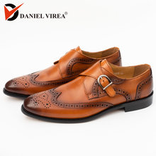 Men Dress Cap Toe Shoe Genuine Leather Brogue Yellow Color Buckle Strap Brand Luxury Fashion Mens Dress Wedding Formal Shoes(China)