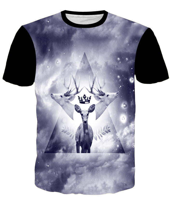 Hot Star deer 3D T-shirt Printed HD Creative Funny Men/Women Summer Anime Cartoon Print Tops Tees Short Sleeve.Free Shipping